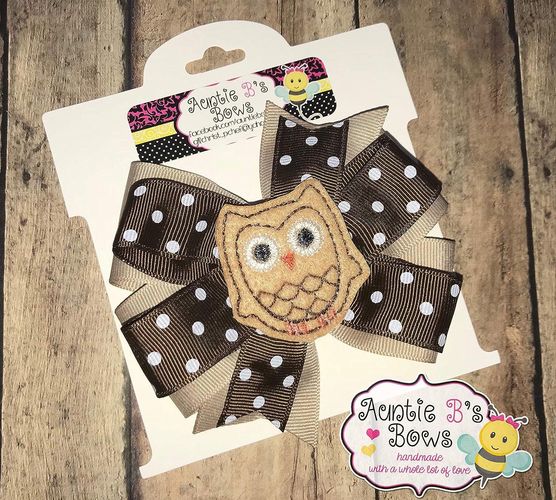 Brown Owl Pinwheel Hair Bow 4 Khaki