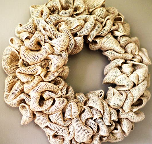 15 Inch Burlap Wreath, Wedding Wreath, Rustic Wreath, Outdoor Wreath,Front  Door