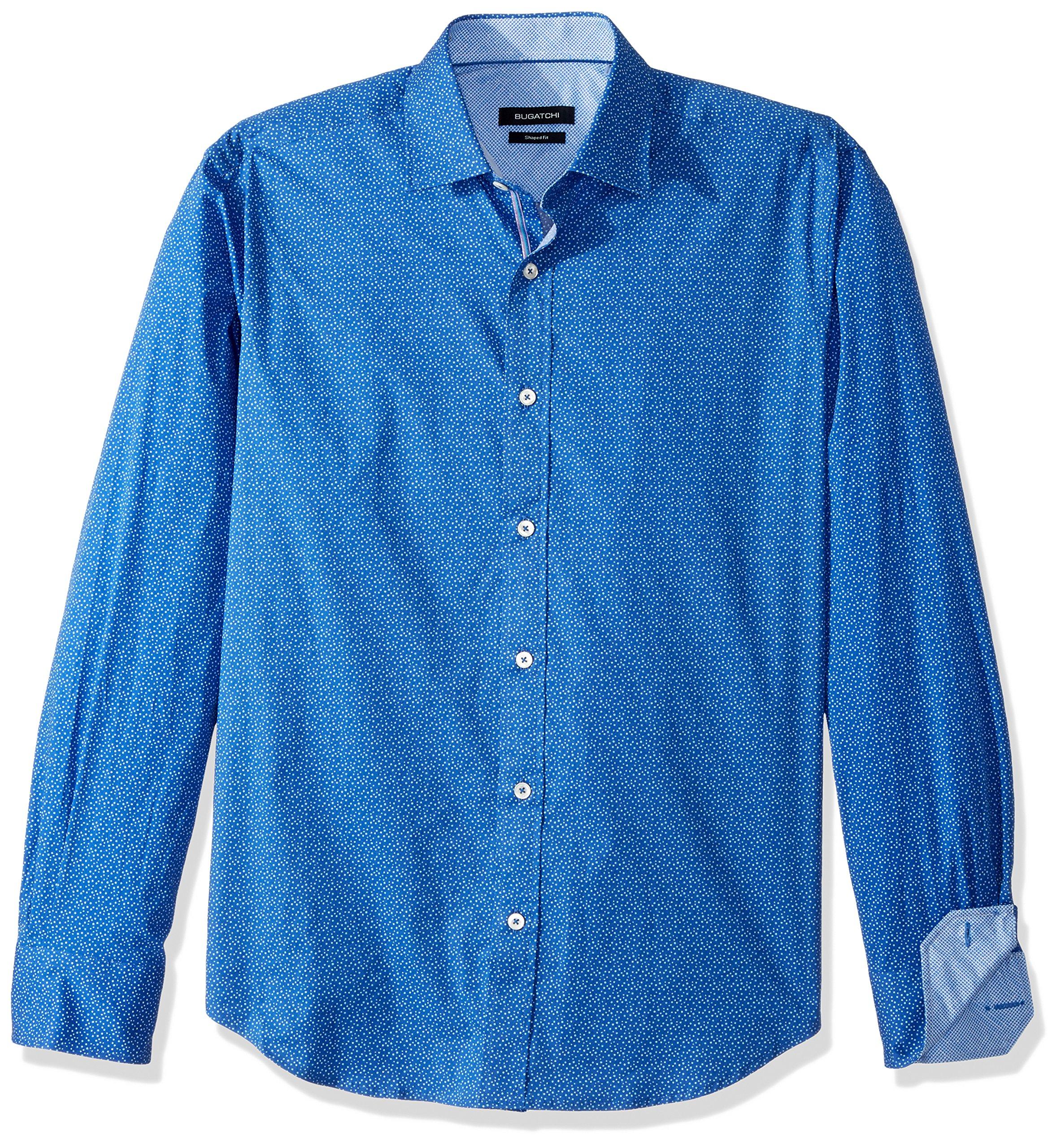 BUGATCHI Men's Cotton Blend Slim Fit Long Sleeve Shirt, Royal, M