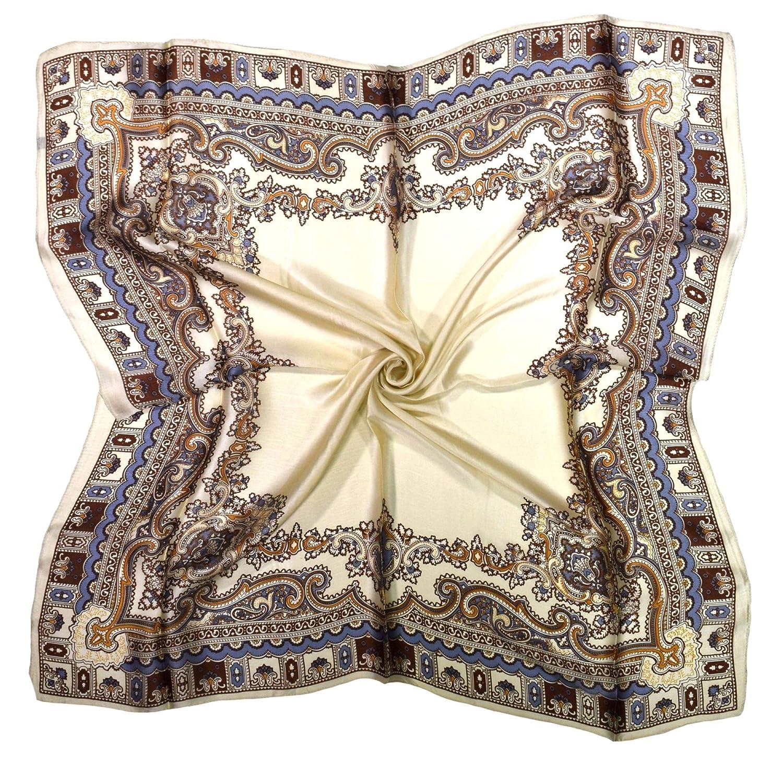 Ecru Brown Paisley Print Design Fine Silk Square Scarf