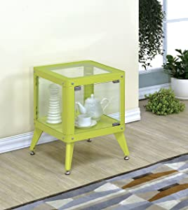 Furniture of America Essor Modern Glass Cabinet, Small, Apple Green