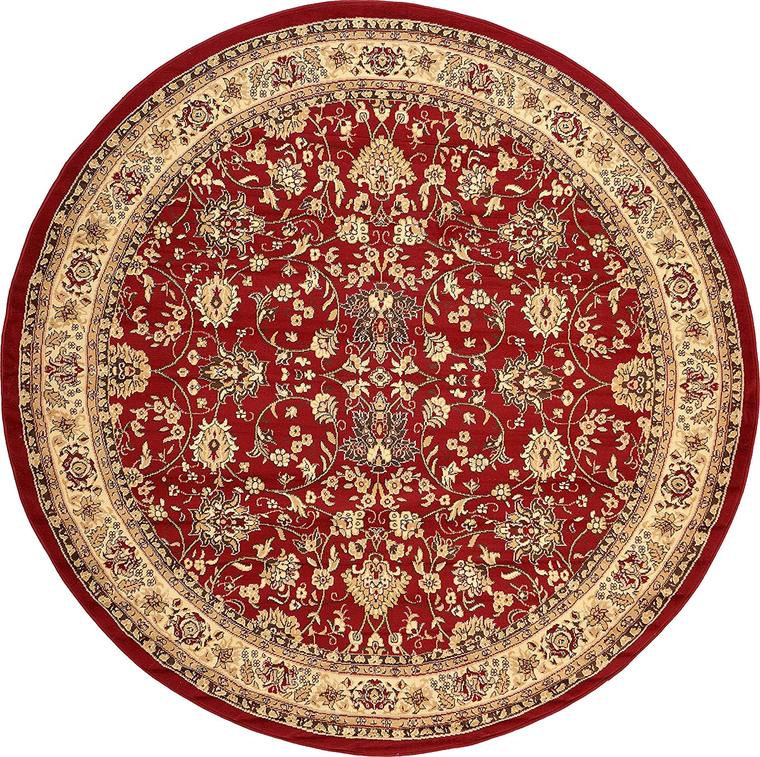 Unique Loom Kashan Collection Traditional Floral Overall Pattern with Border Burgundy Round Rug (8' 0 x 8' 0)