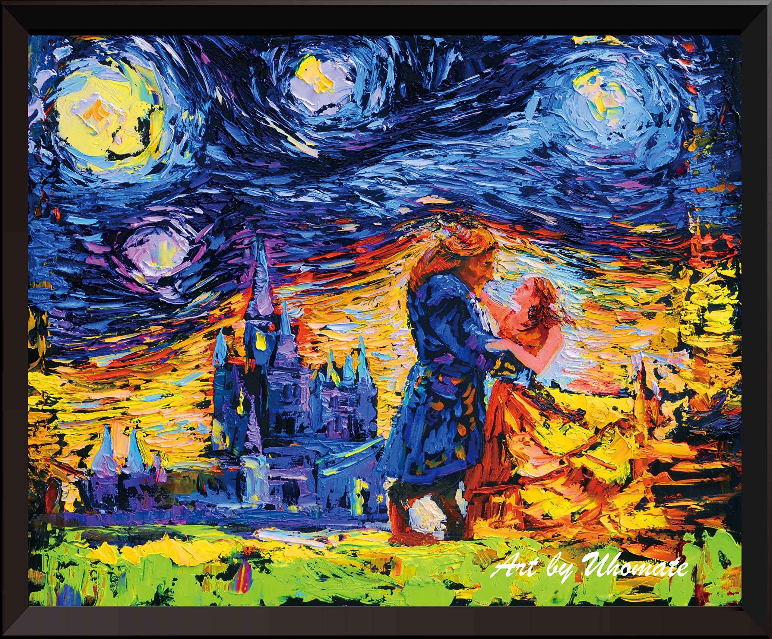 Uhomate Beauty and The Beast Beauty Beast Princess Belle Vincent Van Gogh Starry Night Posters Home Canvas Wall Art Anniversary Gifts Baby Gift Nursery Decor Living Room Wall Decor A001 (5X7 inch)