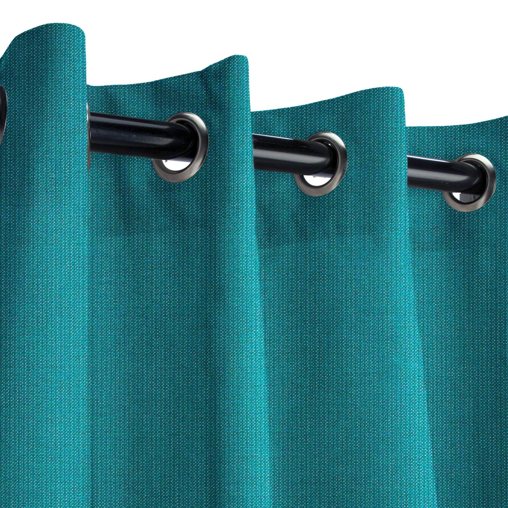 Sunbrella Spectrum Peacock Outdoor Curtain with Nickel Grommets 50 in. Wide x 108 in. Long