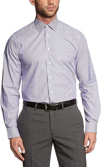 ARROW - Camisa Regular fit a Rayas de Manga Larga para Hombre, Talla 37, Color Lila 089: Amazon.es: Ropa y accesorios