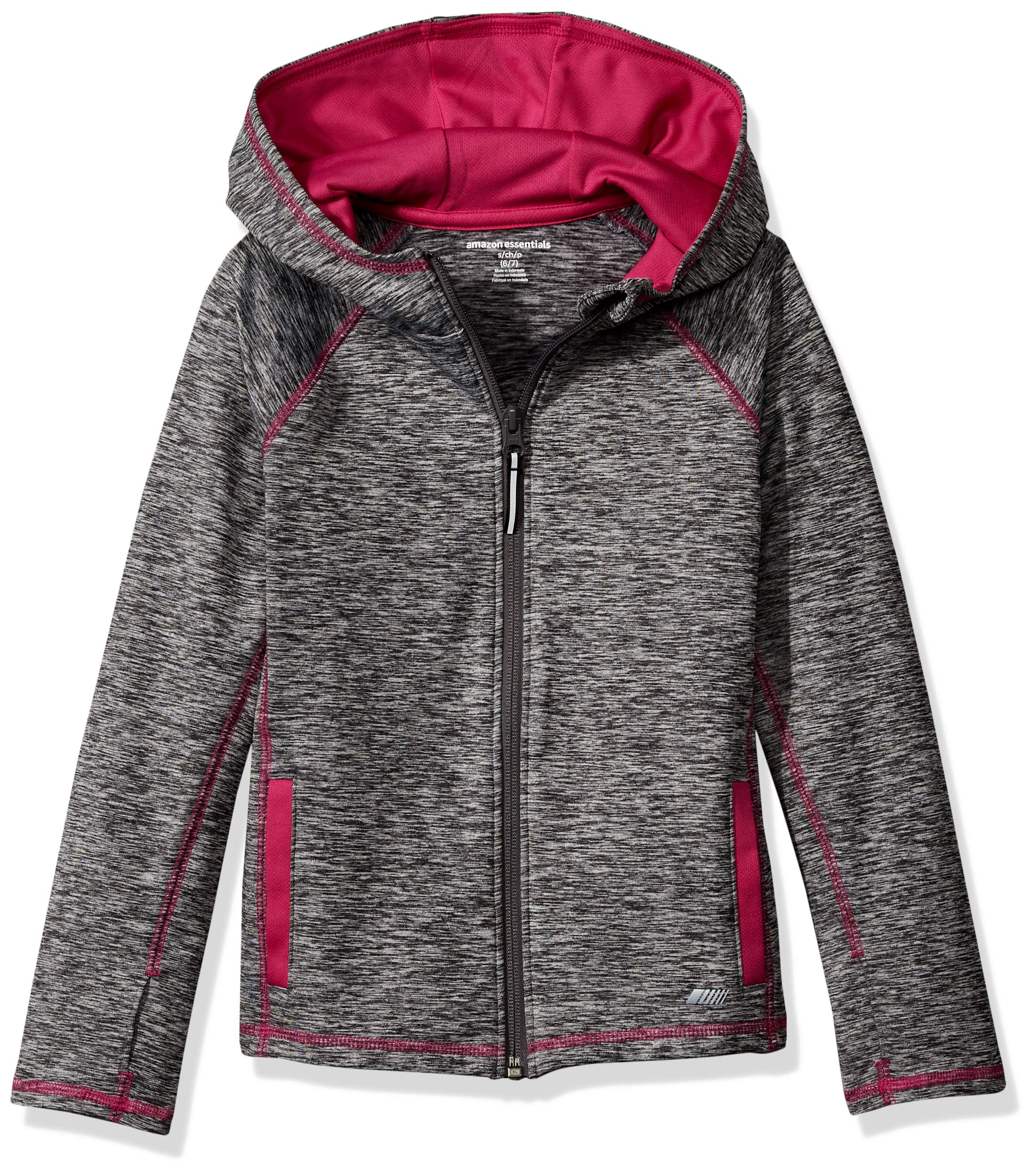 Amazon Essentials    Girls' Full-Zip Active Jacket, Grey Spacedye, S (6-7) by Amazon Essentials