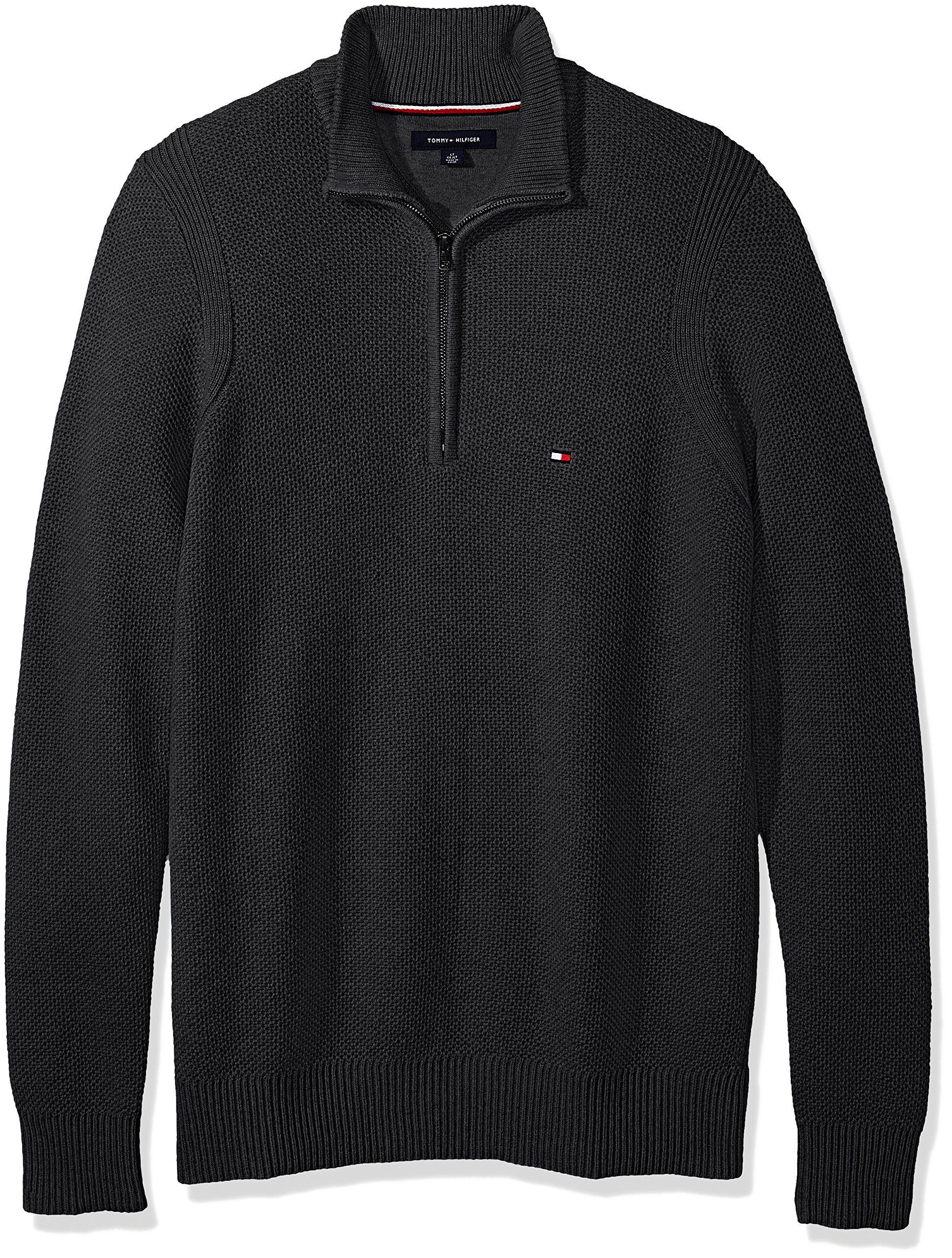 Tommy Hilfiger Men's Big and Tall 1/4 Zip Pullover Sweater, Charcoal Grey Heather, BG-2XL
