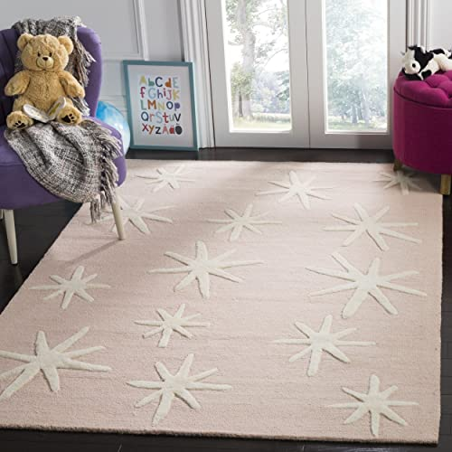 Safavieh Kids Collection SFK908P Handmade Pink Starbursts Wool Area Rug 8 x 10