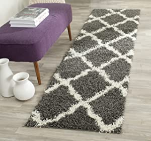 SAFAVIEH Dallas Shag Collection SGD257A Trellis Non-Shedding Living Room Bedroom Dining Room Entryway Plush 1.5-inch Thick Runner, 2'3
