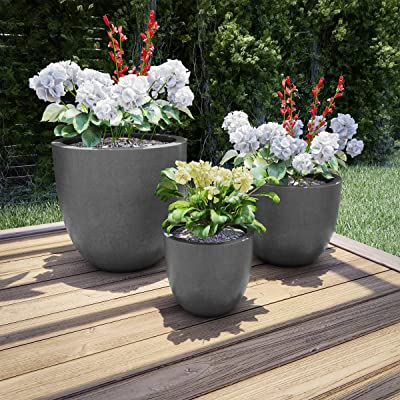 Pure Garden 50-LG1188 Fiber Clay Planters – Modern Tapered Gray Replanting Pots with Drainage Holes for Backyard, Deck or Patio (Set of 3): Garden & Outdoor