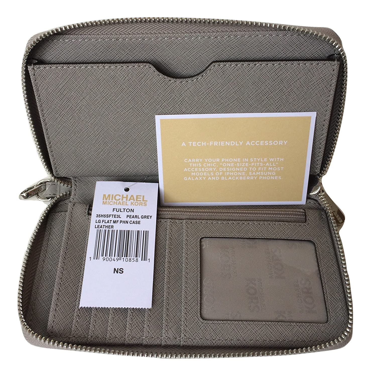b2a9d0705685 Michael Kors Fulton Large Flat Multifunction Leather Phone Case (Pearl Grey):  Amazon.ca: Cell Phones & Accessories