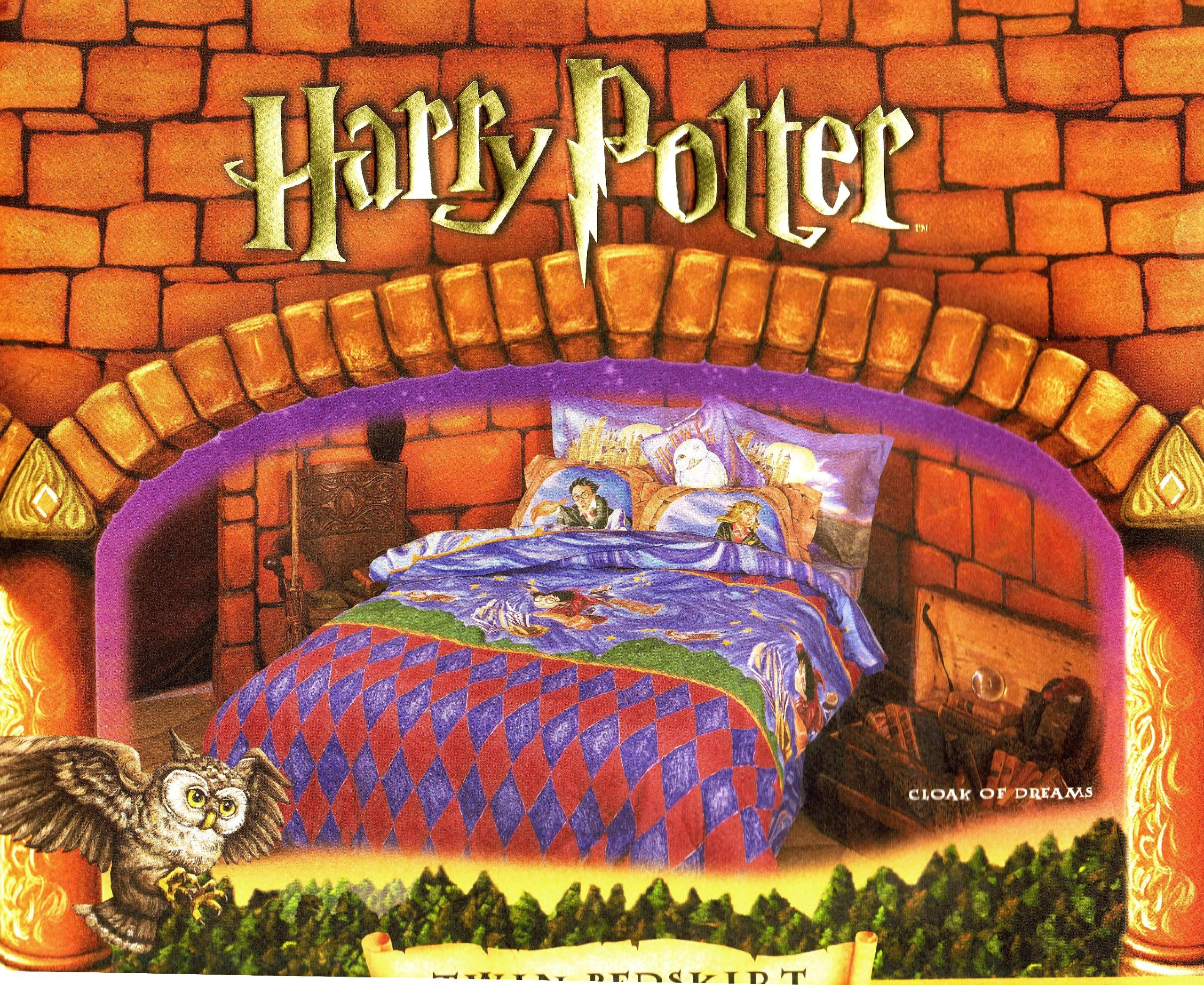 Harry Potter Twin Bedskirt Dust Ruffle ''Cloak of Dreams'' 2000 by Harry Potter, Warner Brothers (Image #1)