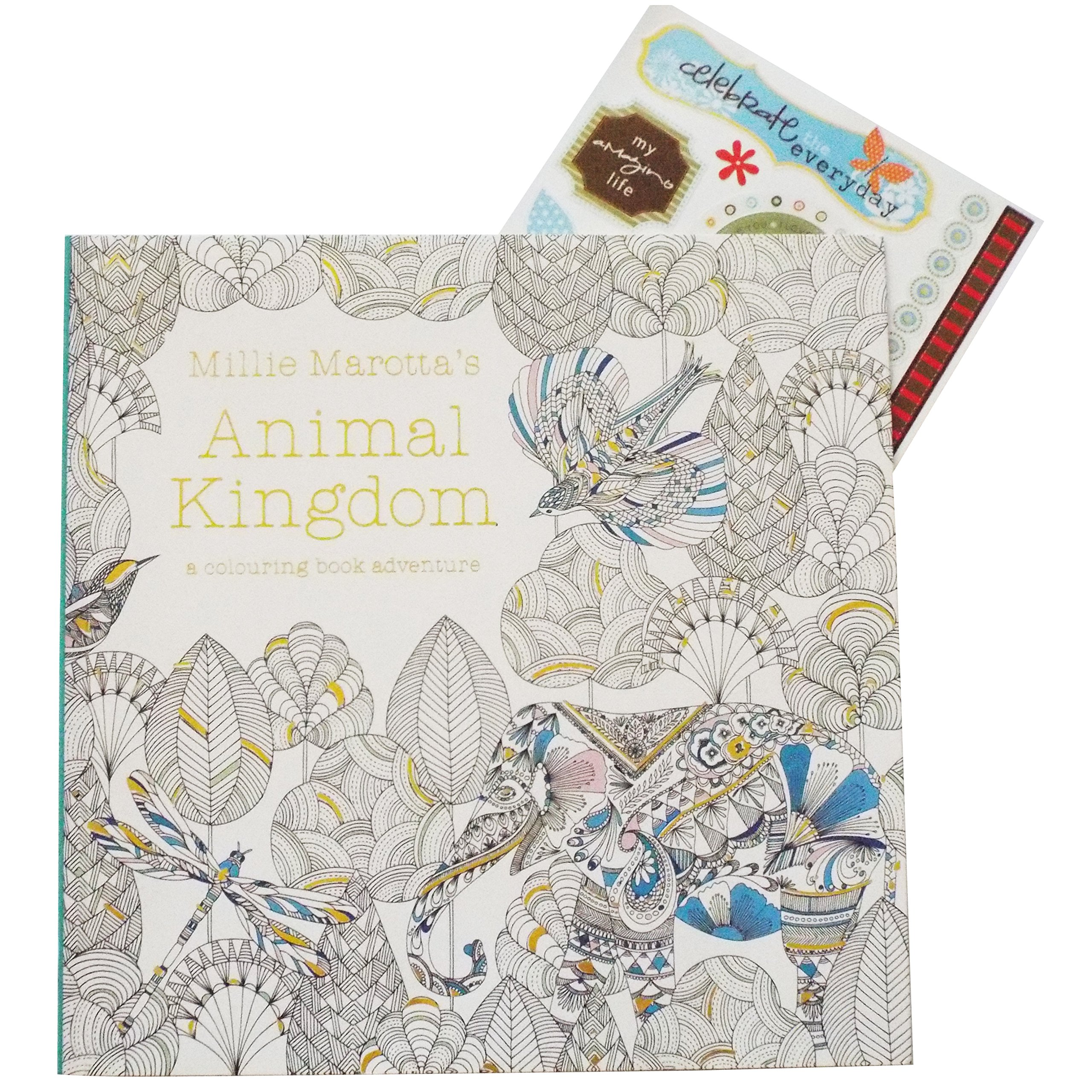 Adult Coloring Book Stress Relieving Patterns Animal Kingdom For Adults Relaxation Free Bonus Sheet Of Stickers Included Sticker