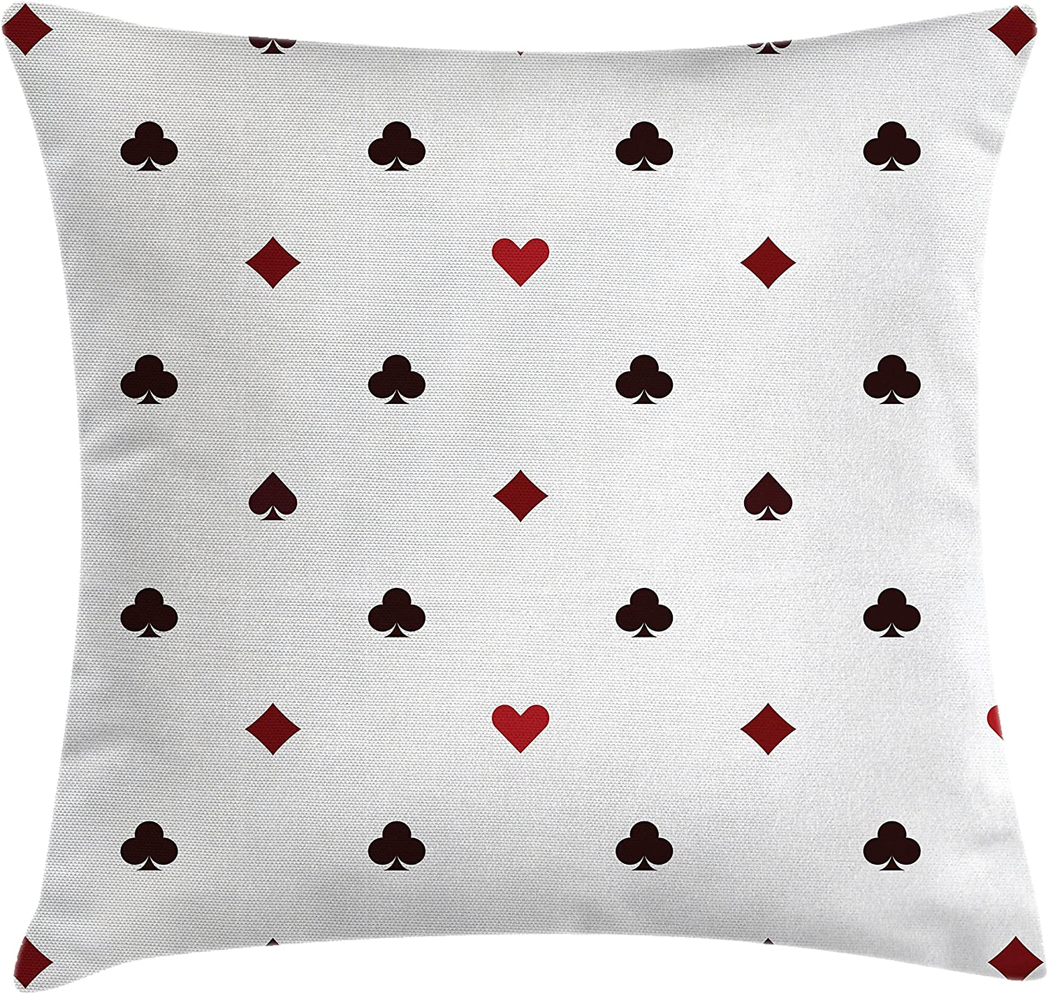 """Ambesonne Casino Throw Pillow Cushion Cover, Gambling Club Lifestyle Fortune Luck Advertise Minimalistic Design Artwork, Decorative Square Accent Pillow Case, 18"""" X 18"""", Maroon Ruby"""