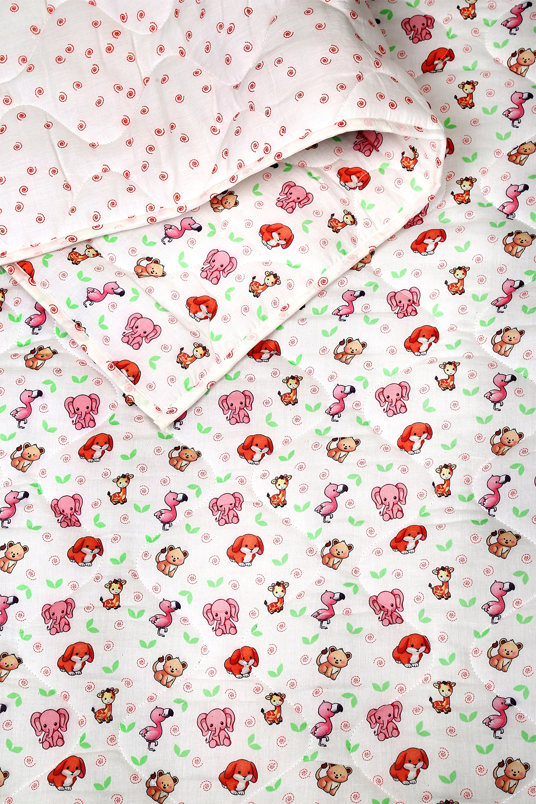 White and Pink Baby Quilt - Warm and Snuggly Toddler Blanket Animal Printed Crib Comforter for New Born Boys & Girls Bed Covers by RAJRANG (Image #3)