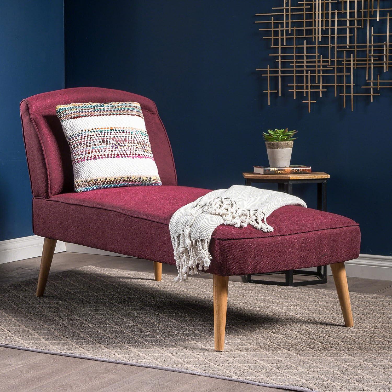 Jolie Mid Century Modern Wine Fabric Chaise Lounge