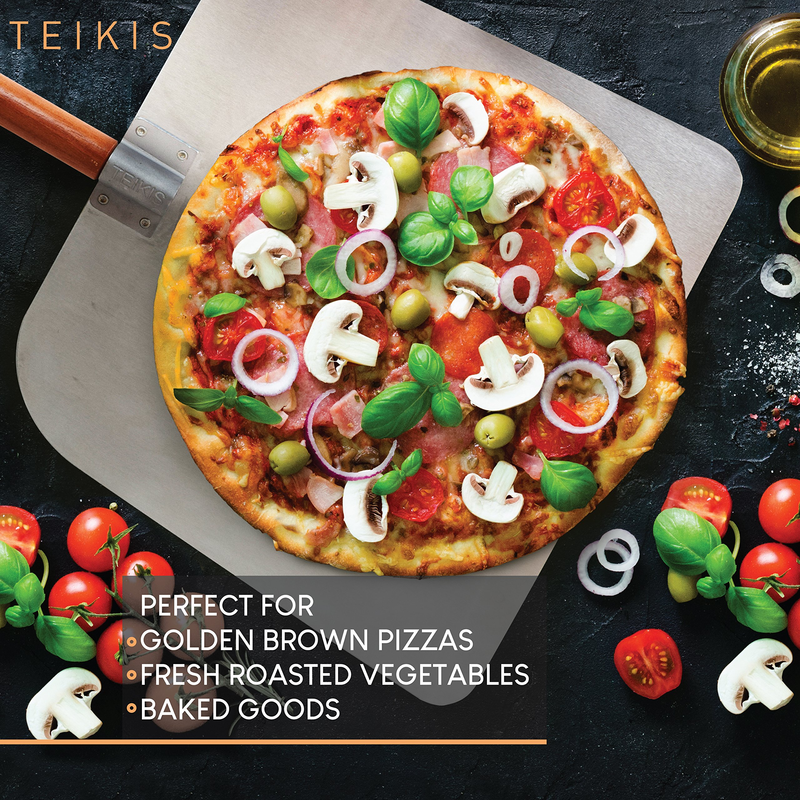TeiKis Large 14-inch Pizza Cutter + Pizza Peel Paddle Board Set (14-inch x 16-inch) with Wood Handle by TeiKis (Image #2)