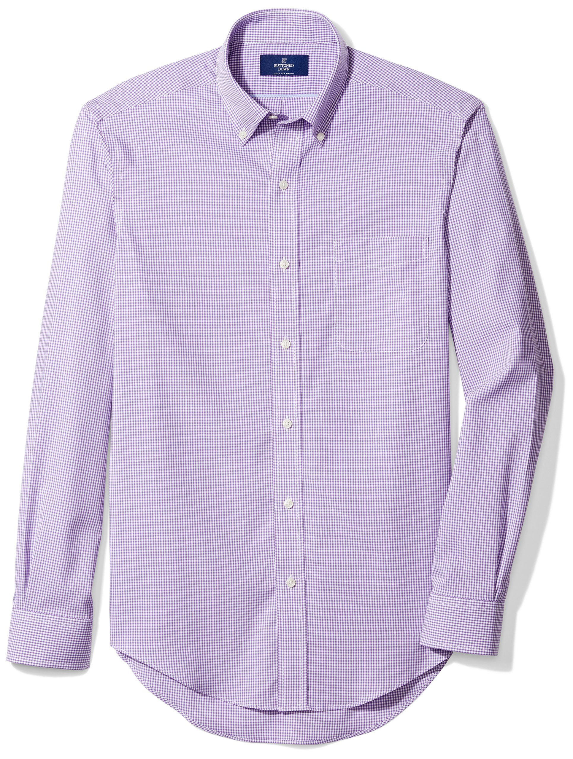 Buttoned Down Men's Classic Fit Button-Collar Non-Iron Dress Shirt, Purple Small Gingham, 16.5'' Neck 36'' Sleeve by Buttoned Down (Image #3)