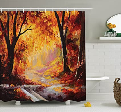 Ambesonne Fall Trees Shower Curtain Country Decor Elegant Paint Of A Forest With Autumn Color Leaves Fall Time Sadness Season Theme Art Fabric