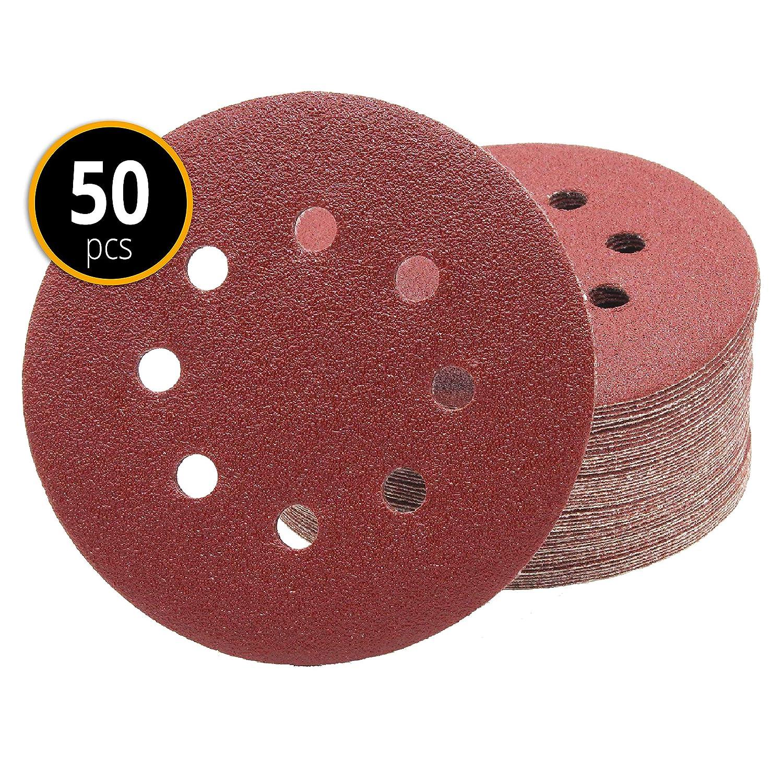 Pack of 50 Sanding Discs - Diameter 125 mm - 180 Grit - 8 Hole FD-Workstuff