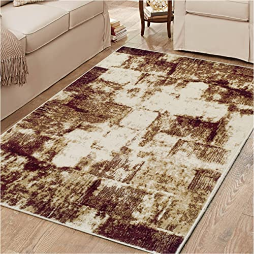 Superior 8mm Pile Height with Jute Backing, Abstract Vintage Distressed Pattern, Fashionable and Affordable Woven Rugs, 8 x 10 Rug