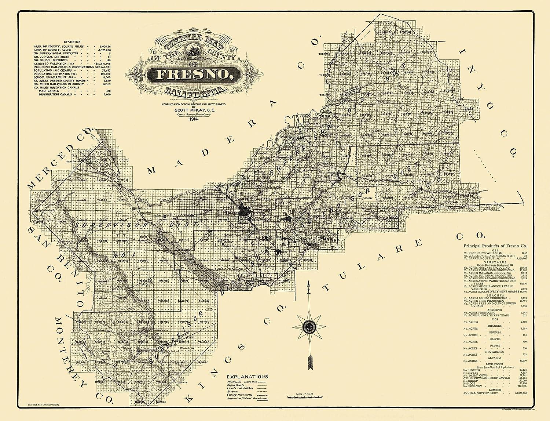 Amazon.com: Old County Map - Fresno California - 1914 - 30.06 x 23 on