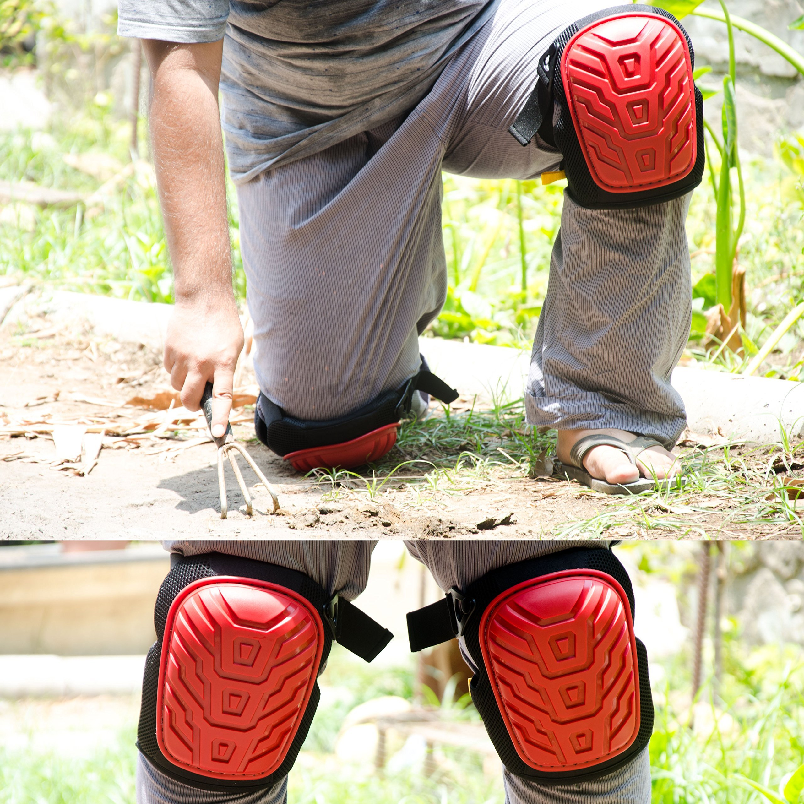 Professional Knee Pads - Easy to WEAR Heavy Duty Memory Foam Padding, Comfortable Gel Cushion, Strong Straps FITS All, Adjustable Easy-Fix Clips - Best for Gardening, Construction, Flooring by Kutir (Image #7)