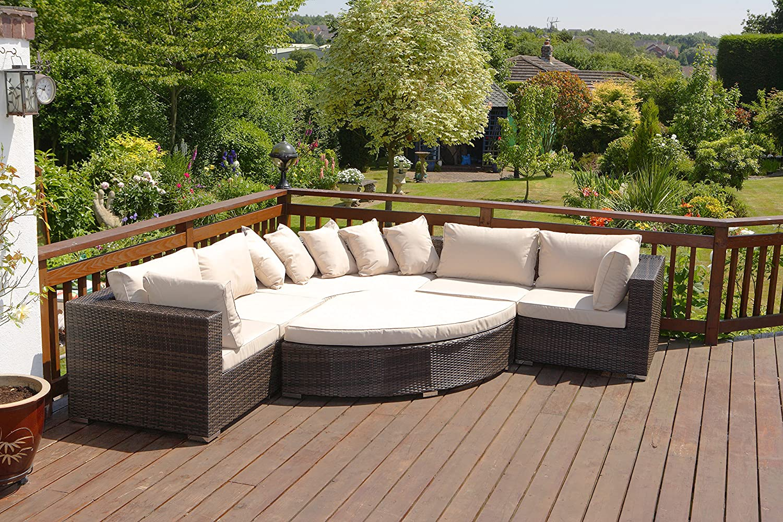 rattan garden sofa set large brown 6 piece 8 seater rattan