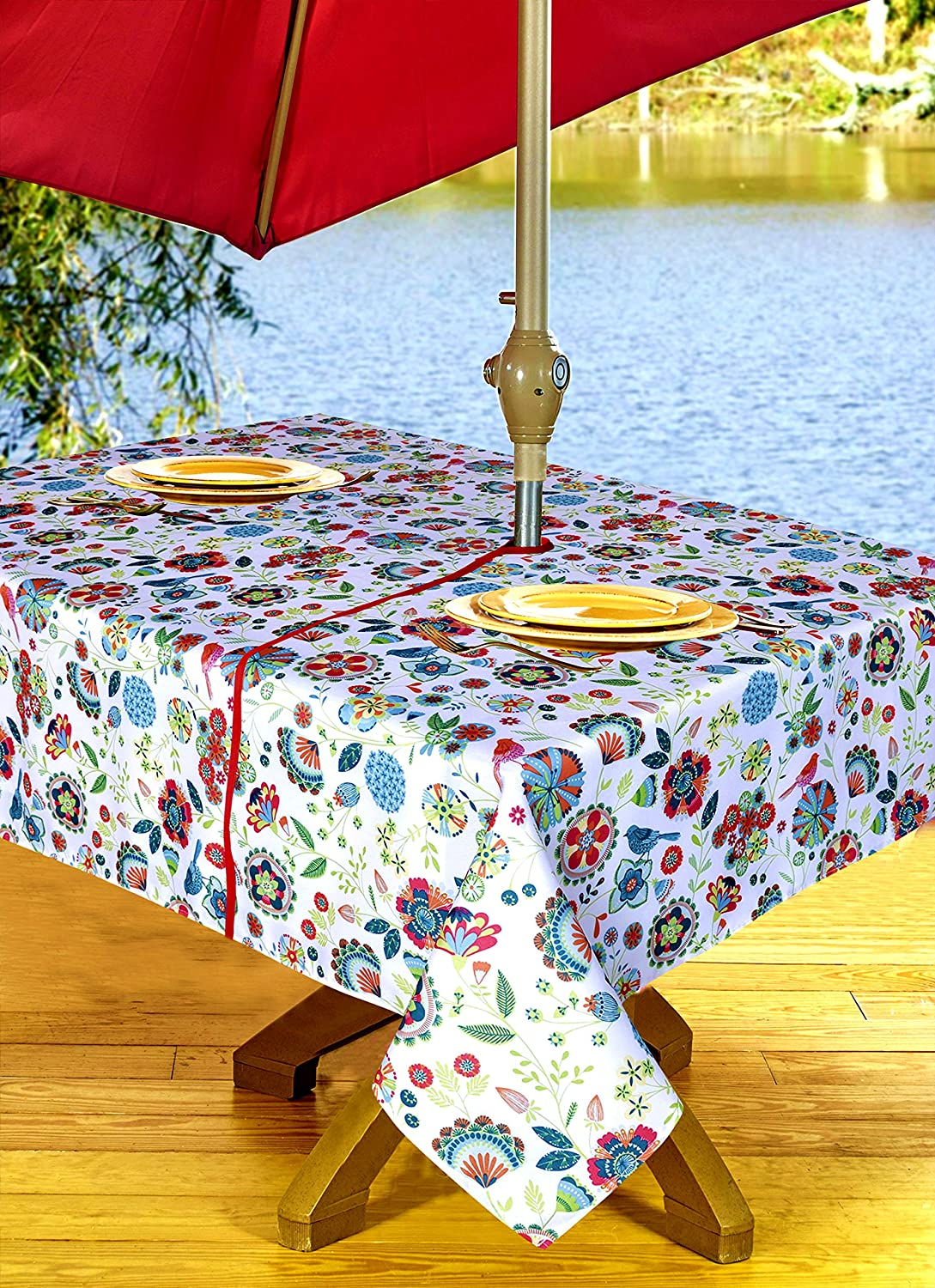 Delicieux Amazon.com: Outdoor Tablecloths, Umbrella Hole With Zipper Patio Tablecloth,  Stain Resistant, Spill Proof, Shrink Resistant, Iron Free, ...