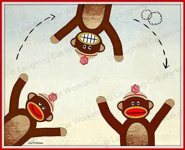 Amazon.com: Cute baby print, funny kids wall art, funny Sock monkey ...