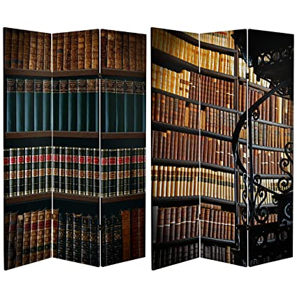 ORIENTAL FURNITURE Tall Double Sided Library Canvas Room Divider 6