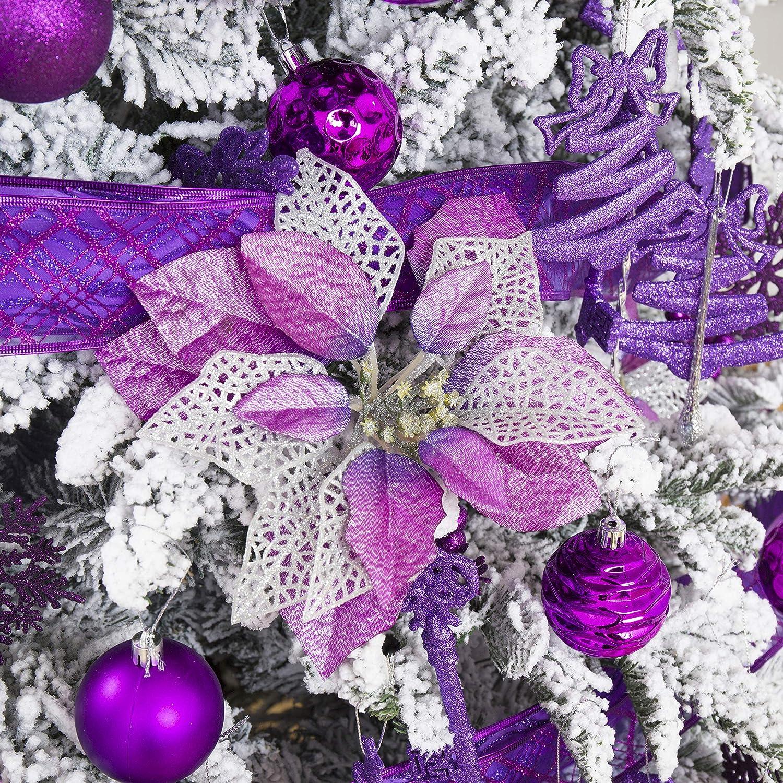 10 Pcs Glitter Poinsettia Christmas Flowers, Christmas Tree Ornaments , Artificial Xmas Flowers, Christmas Tree Decorations (Purple)
