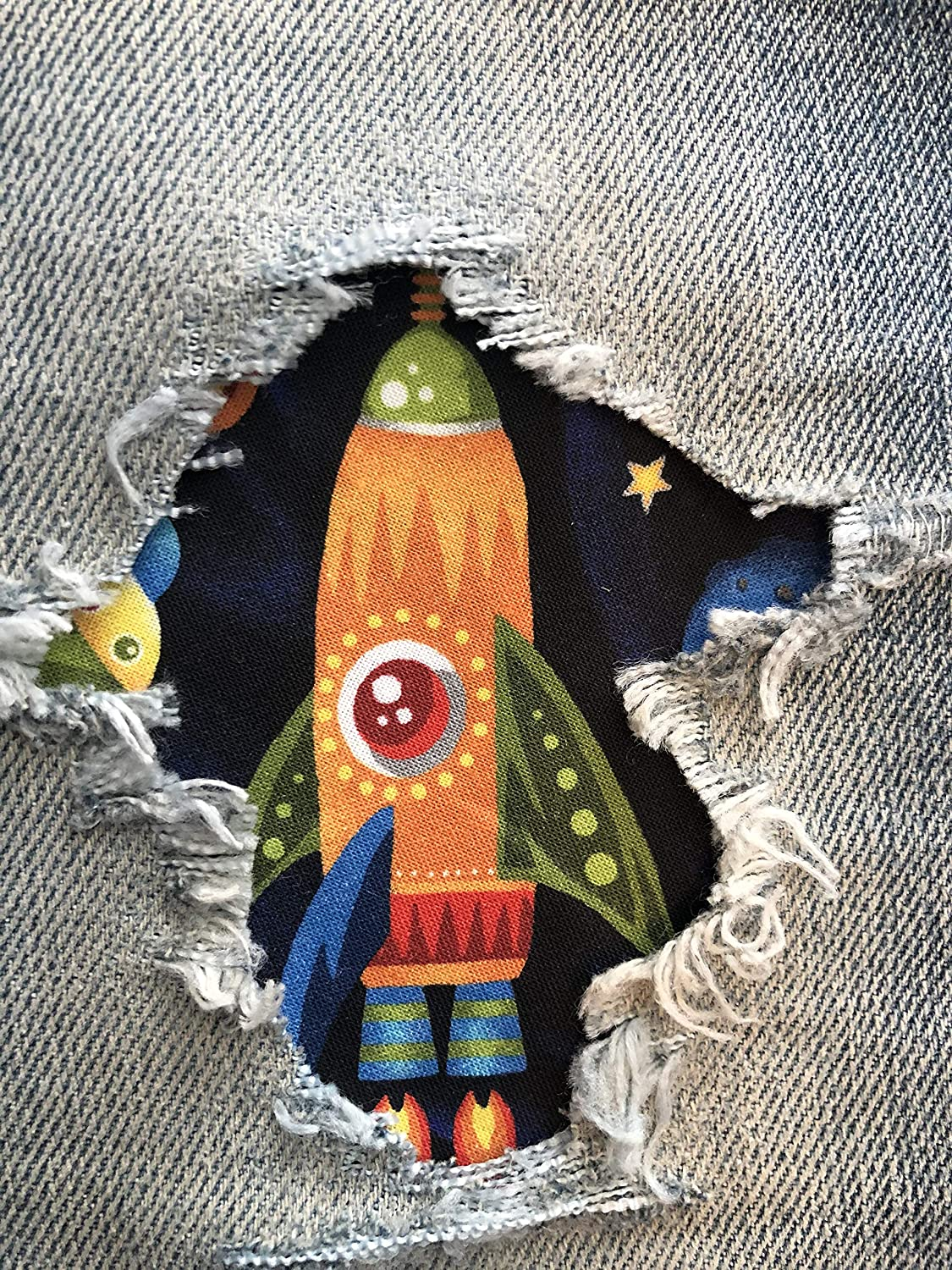 4 x 4 Launch Party Rockets Peek-A-Boo Iron On Patches by Holey Patches in Assorted Sizes
