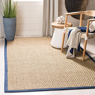 Safavieh Natural Fiber Collection NF114E Basketweave Natural and Blue Summer Seagrass Area Rug (6' x 9')