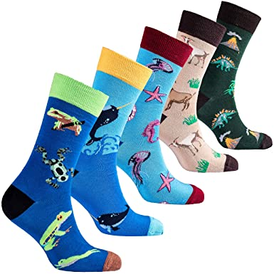 c78e42b7aa14 Socks n Socks-Men 5 pk Colorful Cotton Novelty Wild Animals Hunter Sock  Gift Box