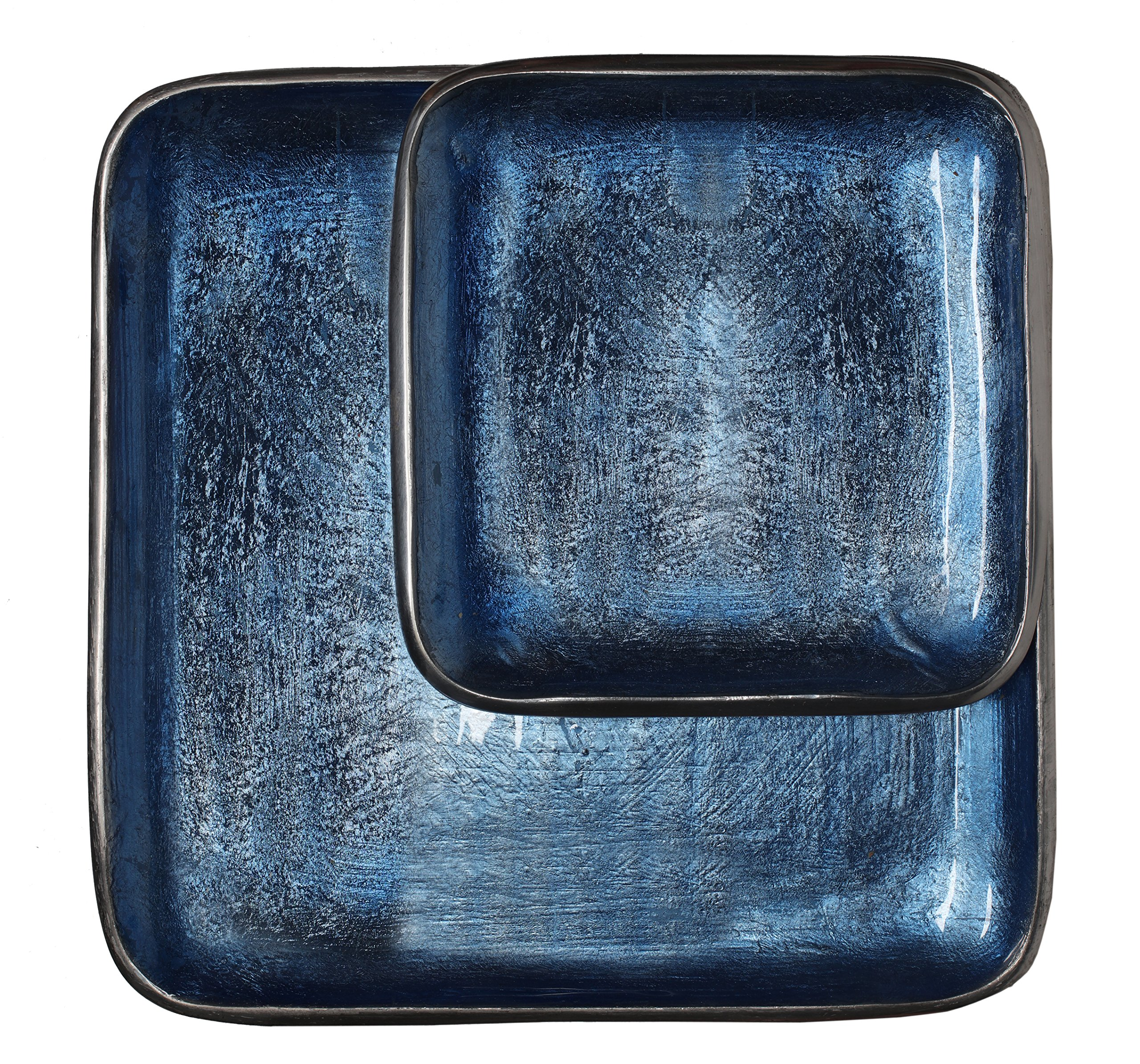 Melange Home Decor Square Tray Collection Set of 2 Square Trays- 8.25'' and 12.25'', Color - Sky Blue