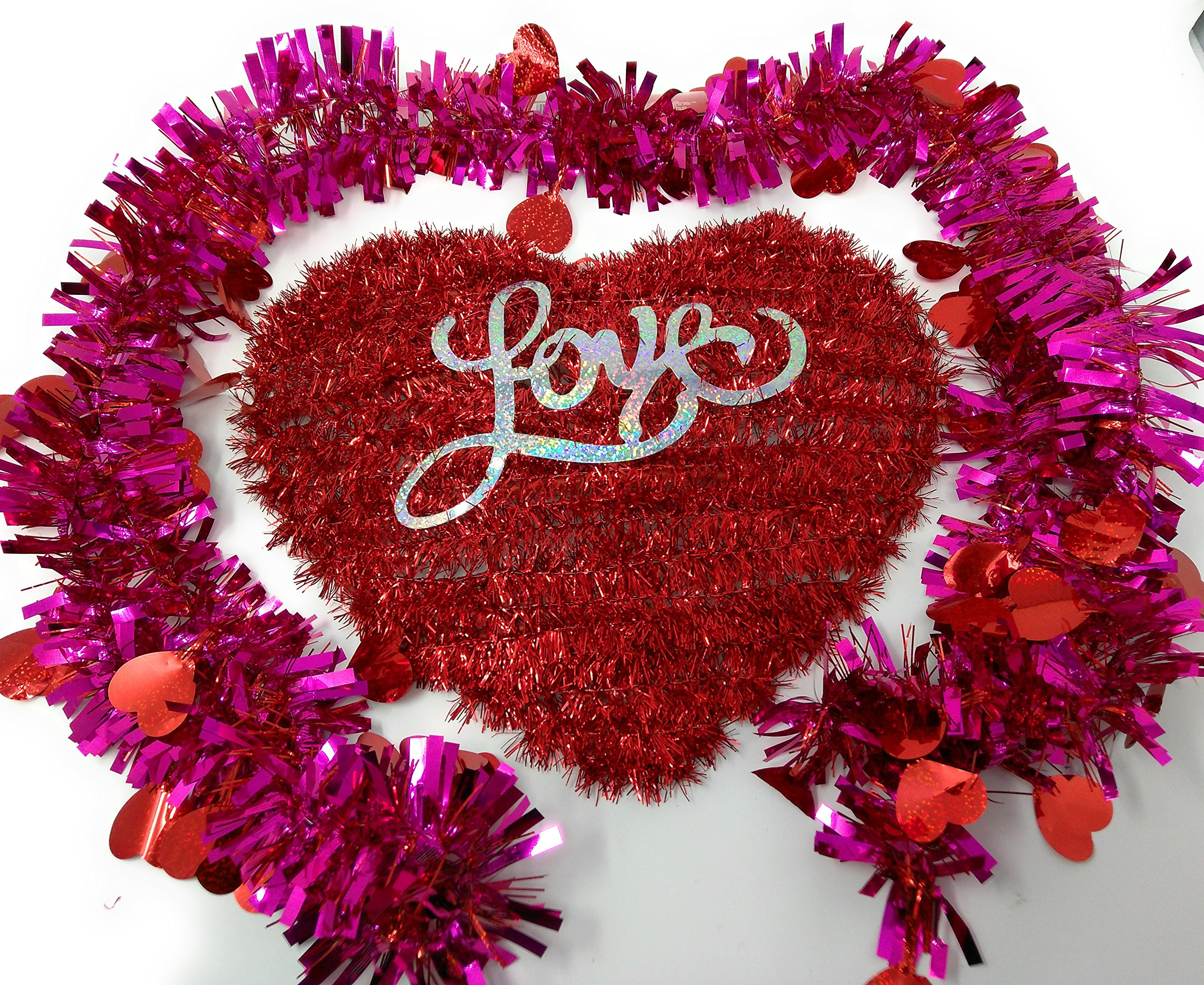 Happy Valentine's Day Wall Plaques Home Decor Decoration Decorations Tinsel Heart Love with Tinsel Garland, 9-ft. Strands
