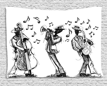 Ambesonne Jazz Music Decor Collection Sketch Style Of A Band Playing With Instruments
