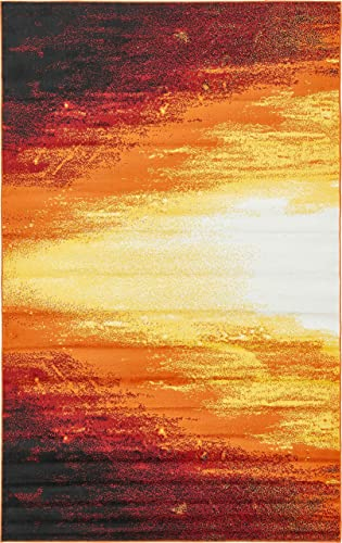 Unique Loom Metro Collection Bright Warm Colors Abstract Light Orange Area Rug 5 0 x 8 0