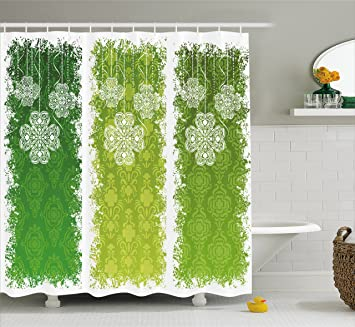 Ambesonne Irish Shower Curtain Aged Vintage Antique Figures On Green Toned Color Bands Celtic Historic