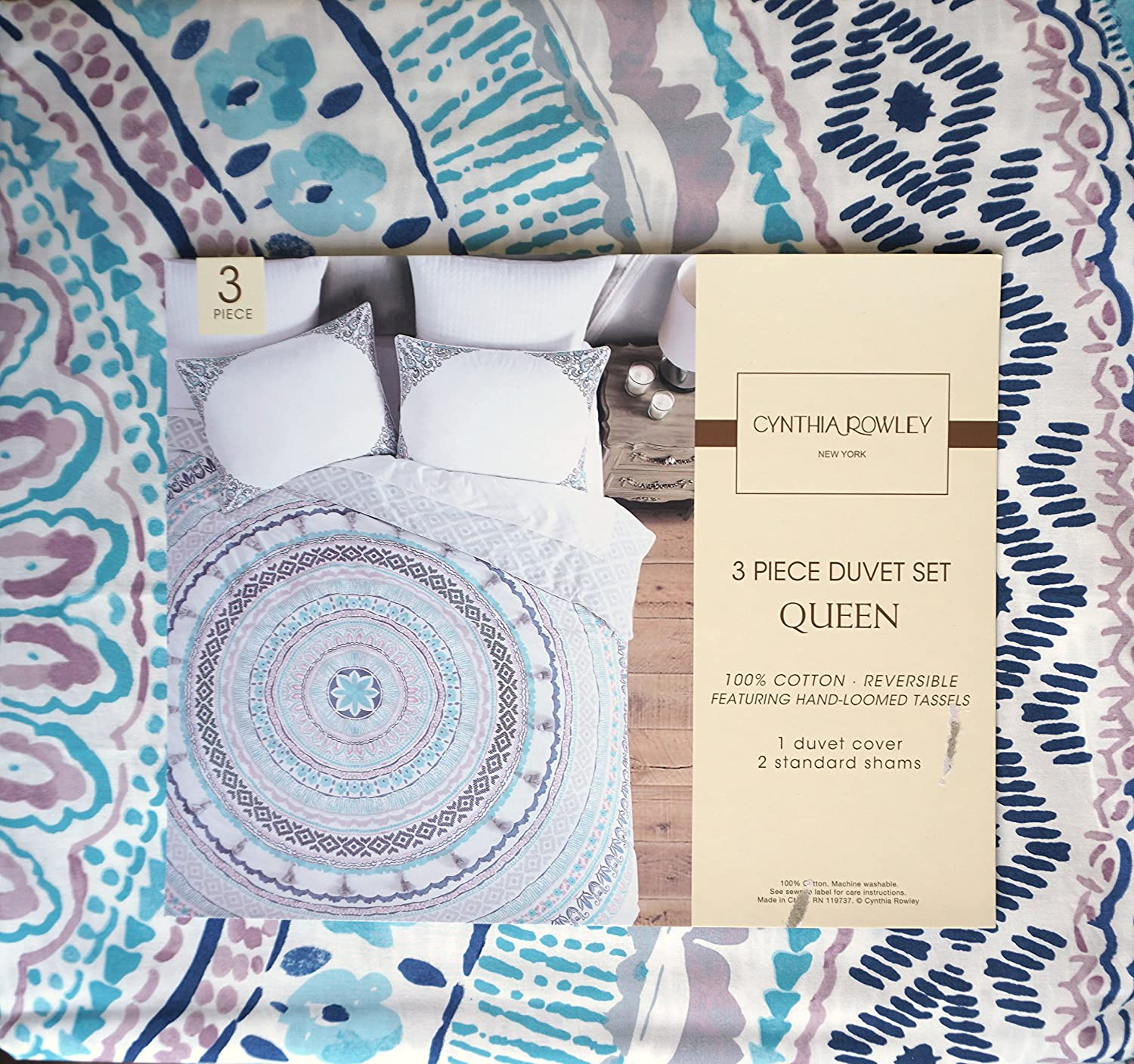 Cynthia Rowley Bedding 3 Piece Queen Size Bed Duvet Cover Set Round Geometric Medallion Pattern in Shades of Gray Purple Blue on White with Gray Tassels