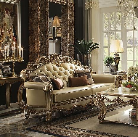 ACME Vendome Gold Patina Sofa with 4 Pillows