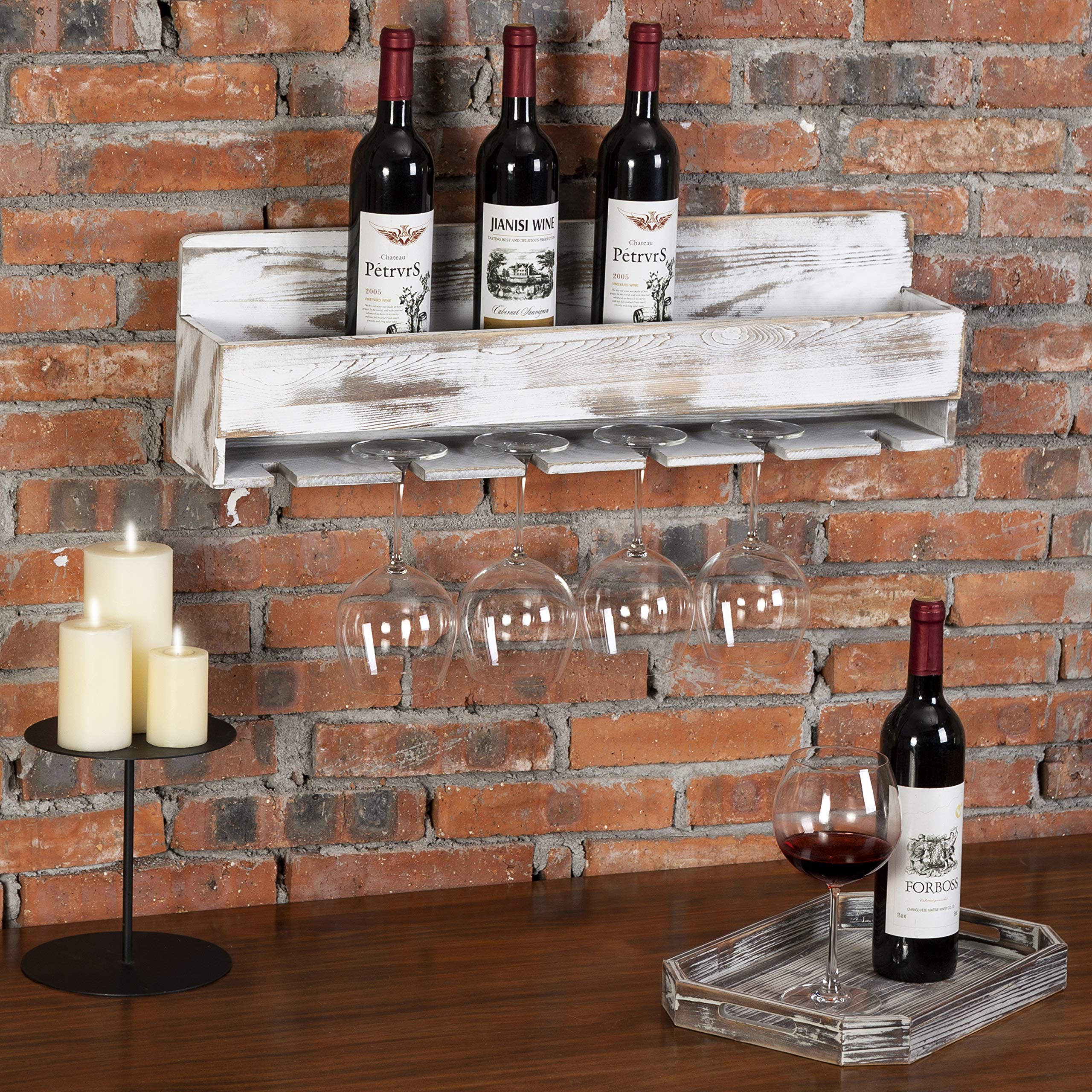 MyGift Rustic Whitewashed Wood Wall-Mounted Wine Rack with Bottle & Glass Holder by MyGift (Image #3)