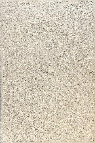 Bashian Verona Collection LC140 Hand Tufted 100 Wool Area Rug, 7.6 x 9.6 , Ivory