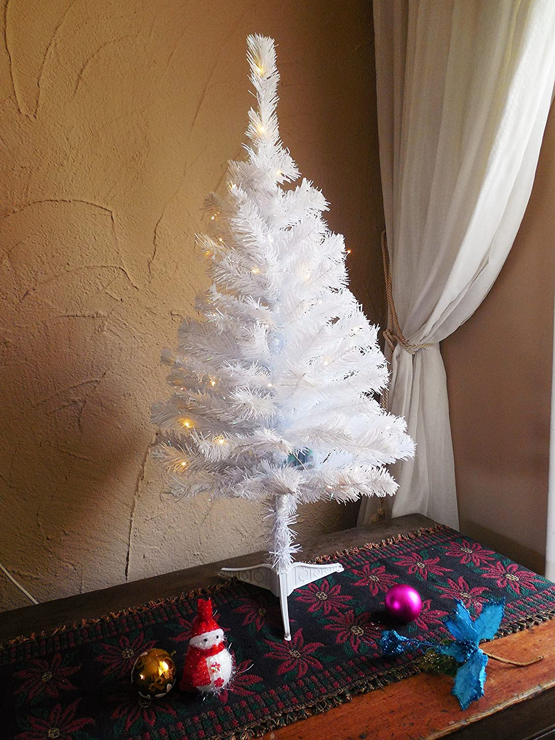 3' White Christmas tree with LED light/Tabletop samall Sparkling White Christmas tree Holiday Stuff