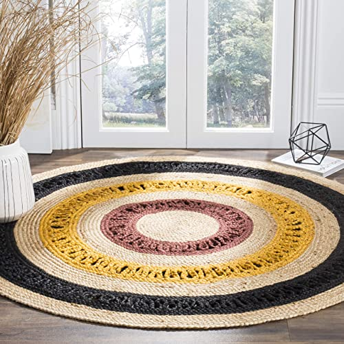 Safavieh Natural Fiber Collection NF803K Hand-Woven Black and Natural Jute Round Area Rug 8'