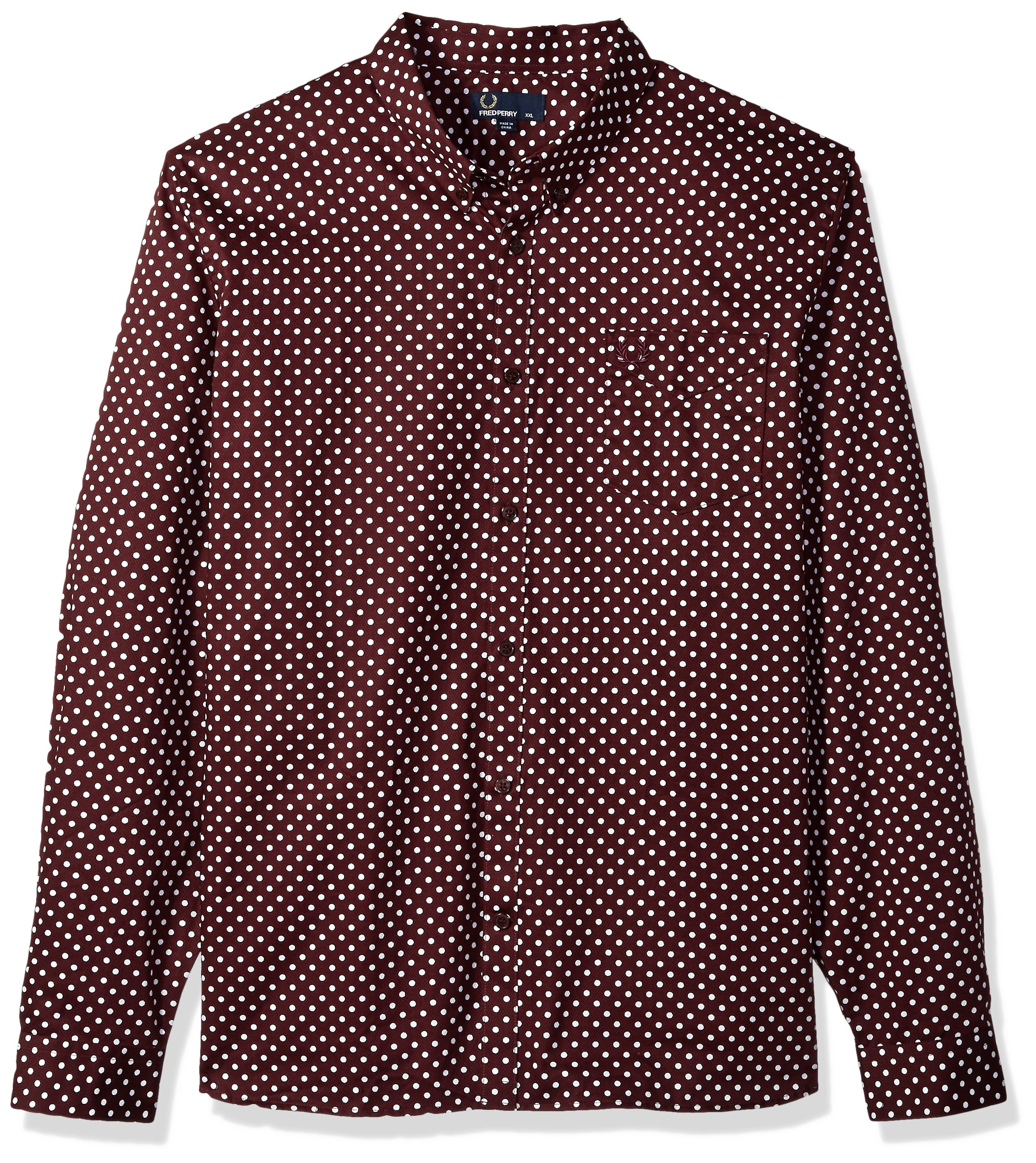 Fred Perry Men's Polka Dot Shirt, Mahogany, Medium