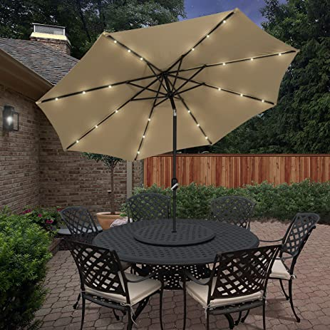 Best Choice Products 10u0027 Deluxe Solar LED Lighted Patio Umbrella With Tilt  Tan