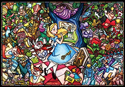 Amazon Com Tenyo Dp 027 Disney Stained Glass Alice In Wonderland Jigsaw Puzzle 1000 Piece Toys Games
