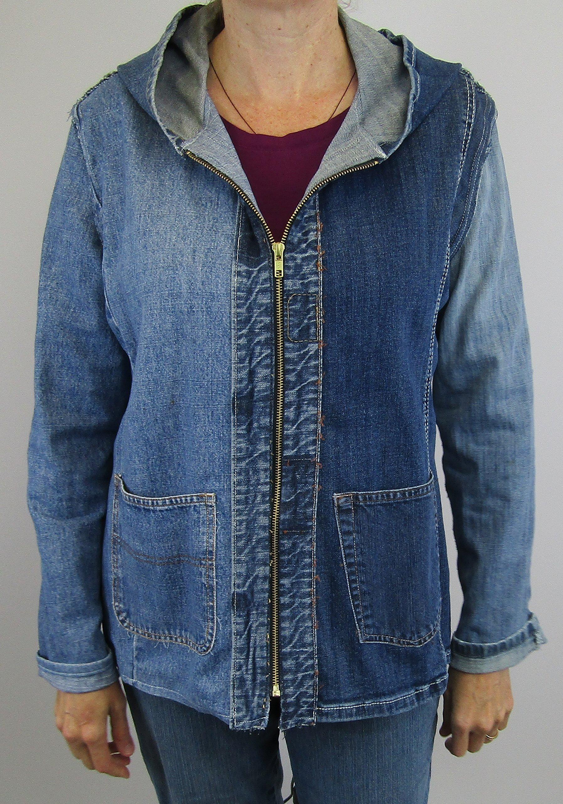 Hooded Denim Jacket Medium made from post consumer denim